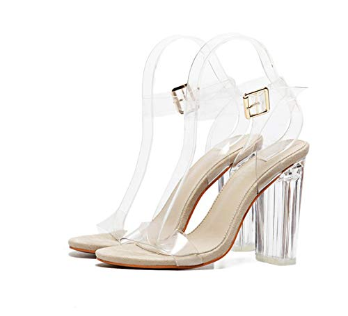 Sheep 2019 PVC Jelly Sandals Crystal Leopard Open Toed High Heels Women Transparent Heel Sandals Slippers Pumps 11Cm,Apricot,8