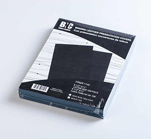 BNC Leather Texture Binding Presentation Covers, Navy Blue, Letter Size Pack of 100