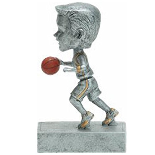 Basketball Rock 'N Bop Bobblehead Trophy - Male  Kids Basketball Team Award | 5.5 Inch Tall - Customize Now - Decade Awards