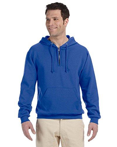 Jerzees Men's Quarter-Zip Hooded Fleece Pullover Sweatshirt - Large - Royal