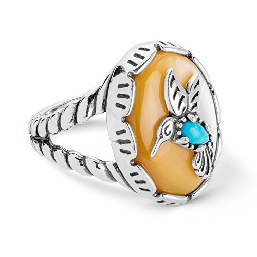 American West Sterling Silver Mother of Pearl and Turquoise Gemstone Hummingbird Ring Size 8