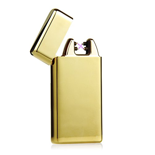 Padgene USB Rechargeable Flameless Windproof Electronic Pulse Double Arc Cigarette Lighter (Gold)