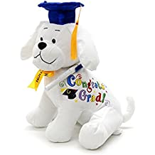 "Graduation Autograph Stuffed Dog With Pen, Blue Hat - Congrats Grad! 10.5"""