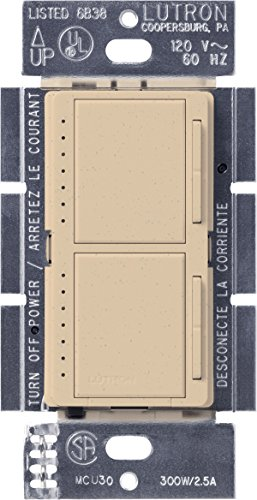 Lutron Maestro Dual Dimmer Switch for Incandescent and Halogen Bulbs, 300-Watt, Single-Pole, MA-L3L3-DS, Desert Stone