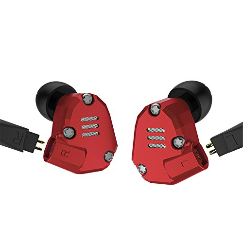 Wired Earbud Headphones Yinyoo KZ ZS6 Red Color 2dd+2ba Hybrid Inear Earphones Metal Shall Fashion Design In Ear Earbuds for Audio Player for Music (Red no microphone) ()