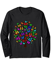 Butterfly Tree Long Sleeve Shirt, Butterflies Shirt