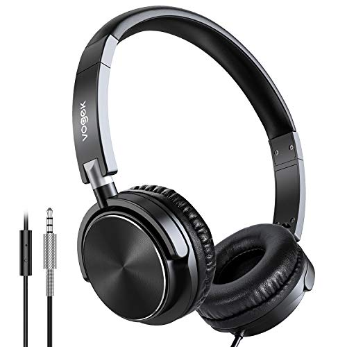 Headphones with Microphone,Vogek On-Ear Headphones Lightweight Portable Fold-Flat Bass Stereo Headphones with 1.5M Tangle Free Cord for Children and Adult,Compate iPad/PC/Cellphone/MP3/4