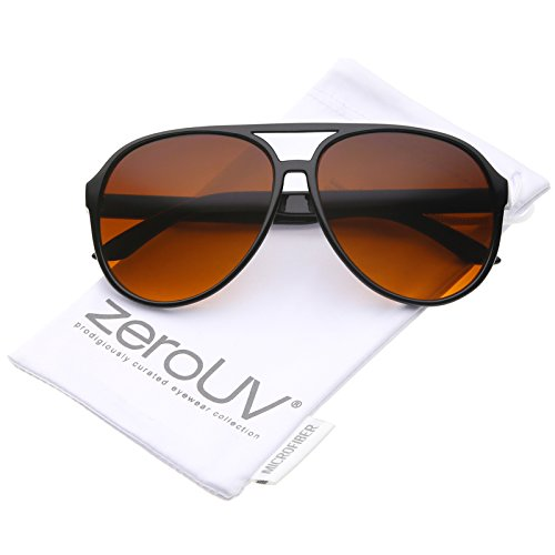 Retro Large Blue Blocking Lens Aviator Sunglasses 60mm (Black/Orange Gradient) -
