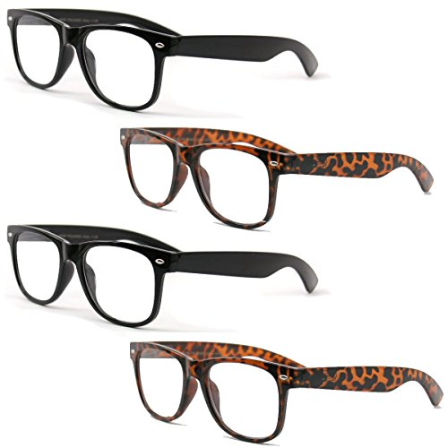 4 Pairs Reading Glasses - Comfortable Stylish Simple Readers Rx Magnification - Anti-Reflective AR Coating (2 Black 2 Tortoise, 1.50) by Vision World Eyewear