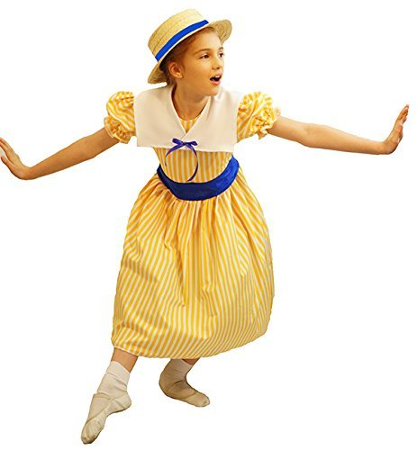 Victorian Kids Costumes & Shoes- Girls, Boys, Baby, Toddler Edwardian CHILD'S DELUXE YELLOW POLYANNA STRIPED DRESS - All Ages $55.00 AT vintagedancer.com