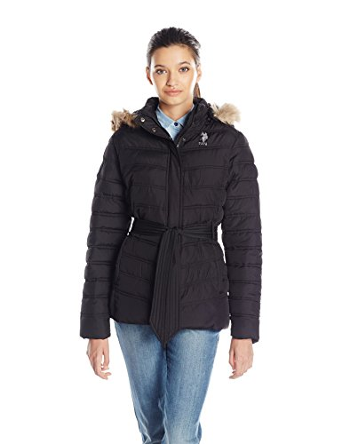 n's Belted Puffer Jacket with Faux Fur Hood Trim, Black, M ()