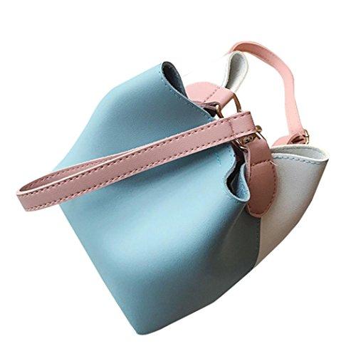 Fashion Middle Wide Shoulder Handbag Leather Bag Bucket Yellow Crossbody Women Blue Patchwork rYfarx