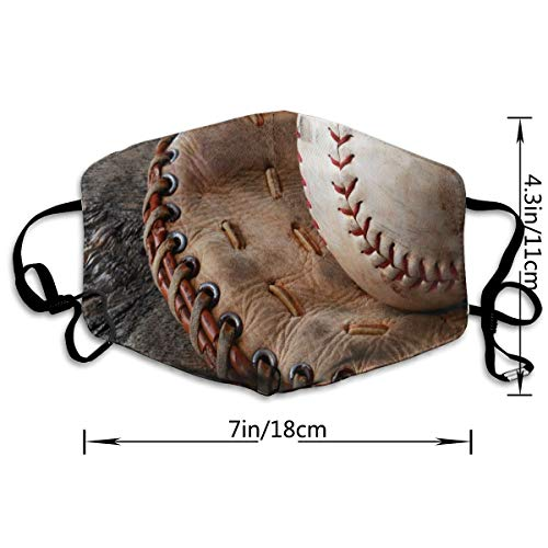 Dust Mask Baseball and Leather Baseball Glove. Fashion Anti-dust Reusable Cotton Comfy Breathable Safety Mouth Masks Half Face Mask for Women Man Running Cycling Outdoor