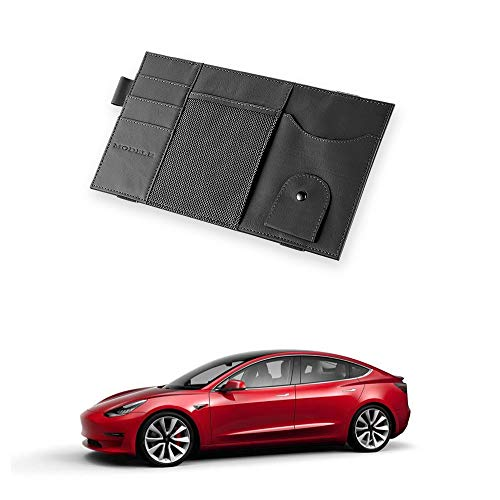 TOPlight Tesla Model 3 Car Sun Visor Organizer Auto Interior Accessories Sunglass Pen CD Card Small Document Storage Pouch Holder, Cow Leather, Multi-Pocket Road Trip Essential Gift for Model 3