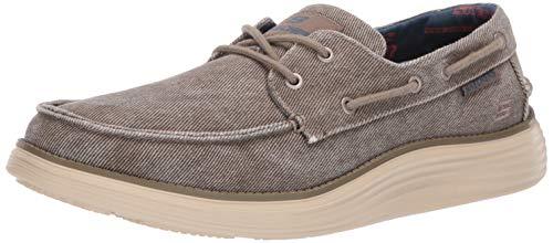 Skechers Men's Status 2.0-LORANO MOC Toe Canvas Deck Shoe Oxford, Taupe, 10.5 Medium US