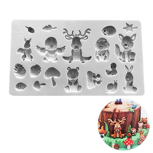 Huture 3D Animal Silicone Mold Animal Cake Fondant Mold Zoo Animal Cake Decoration Chocolates Candy Making Mold Birthday Party Decoration Gray-White (Mold Zoo)