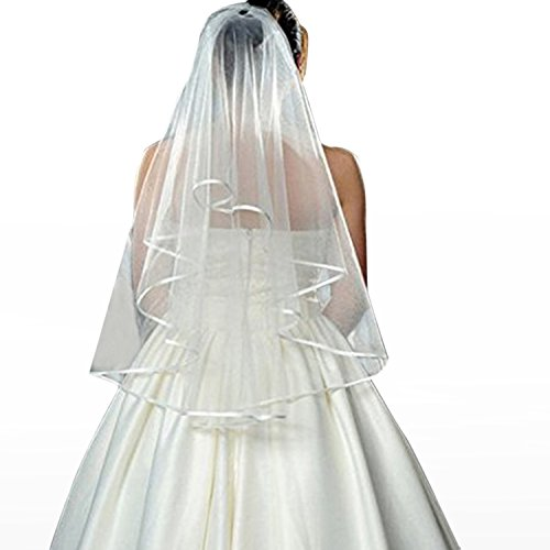 Gunoutdoor Double Ribbon Bridal Wedding Veil With Comb and Special White Yarn Gloves To Be Bachelorette Party Decorations Supplies