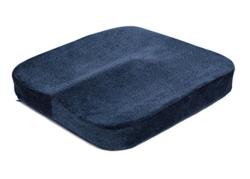 Oxfox comfortable memory foam seat cushion navy blue for tailbone protection back thigh muscles relief perfect for car seat office chair