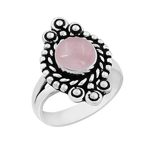 Rose Quartz Solitaire Ring - Genuine Round Shape Rose Quartz Solitaire Ring 925 Silver Plated Vintage Style Handmade for Women Girls (Size-5)