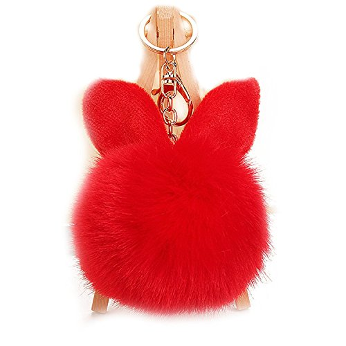 Kissweet Fluffy Faux Rabbit Fur Ball Keychain Fuzzy Pom Pom Key Chain Puffball Keyring Bag Charm Pendant (Rabbit-red) (Rabbit Red Charm)