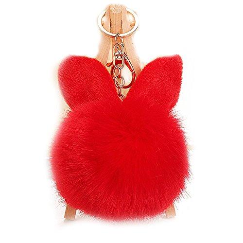 Kissweet Fluffy Faux Rabbit Fur Ball Keychain Fuzzy Pom Pom Key Chain Puffball Keyring Bag Charm Pendant (Rabbit-red) (Charm Red Rabbit)
