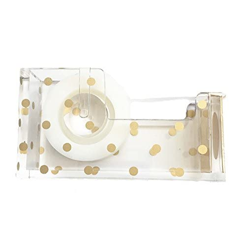 Nice Acrylic Tape Dispenser | Gold Polka Dot - Chic, Modern Desk and Office Supplies (Tape Dispenser) supplier