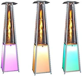 Agoradirect - Estufa De Gas Exterior LED, 13 Colores, Acero Inoxidable, Diseño Pirámide, Potencia 13kw Con Regulador, Altura 2,2m, Para Jardines, Patios, Porches, Terrazas, Bares, Restaurantes: Amazon.es: Bricolaje y herramientas