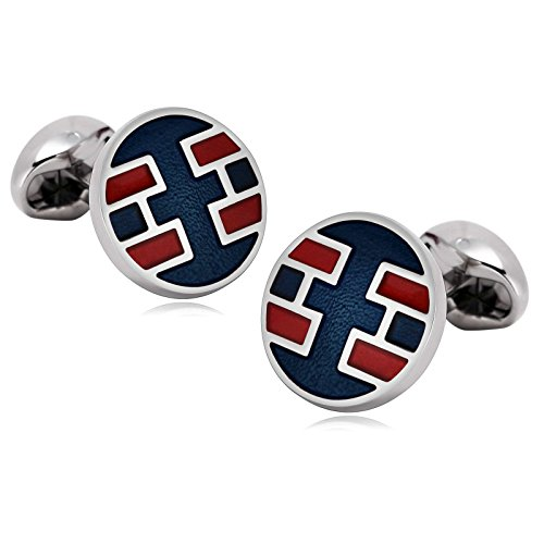 Aokarry Cufflinks-Men's Stainless Steel Rectangle Pattern Round Cuff Links Blue Red