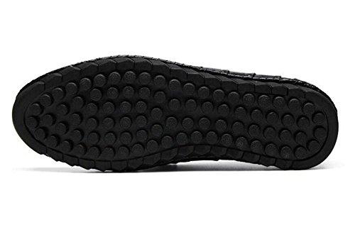 Männer Slip-On Oxford Erbsen Schuhe Herren Schuhe Krokodil Muster Schicht aus Leder Sommer Breathable Casual Schuhe , black , 38