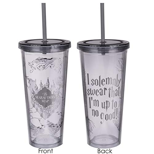 Harry Potter Cups - Harry Potter Marauder's Map Travel Cup with Straw - I Solemnly Swear That I Am Up to No Good - Acrylic Tumbler with Silver Design - 22 oz