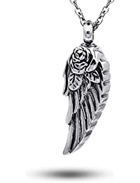 Stainless Steel Angel Wing Ash Pendant Cremation Jewelry Urn Necklace Keepsake