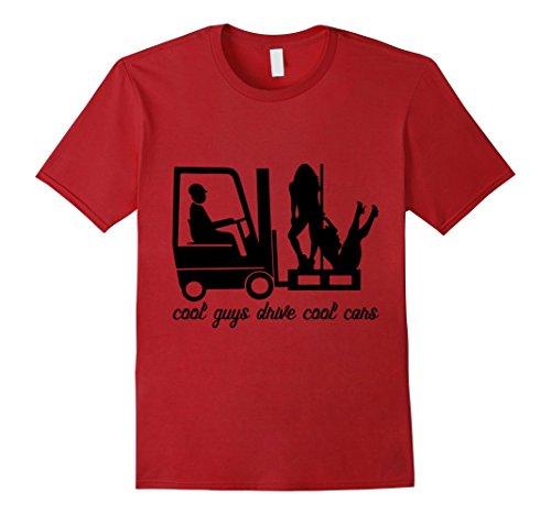 Lift Truck Forks (Mens cool guys drive cool cars fork-lift truck girls t-shirt men 2XL Cranberry)