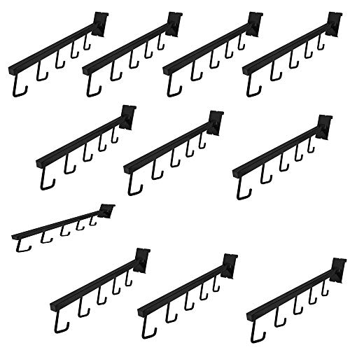 - MH GLOBAL Set of 10 Pieces Gloss Black Gridwall 5 J Hook Waterfall Faceout Square Tube Fixture 17-1/2 Inch Length