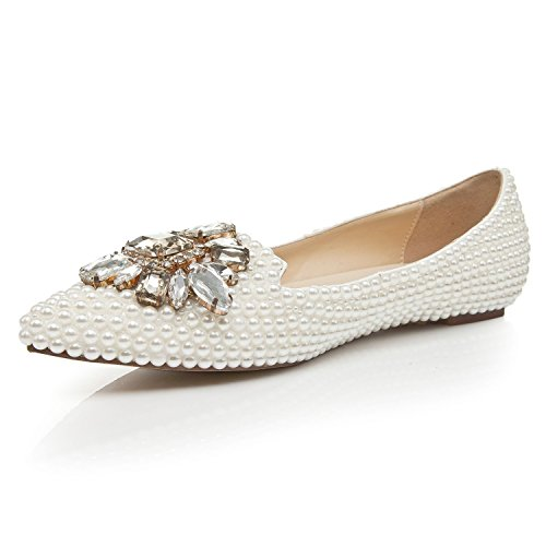 Toe Women's White Evening Party MA1179 Flats Pointed Beaded Bridal Wedding Minitoo Shoes UqIdgxq