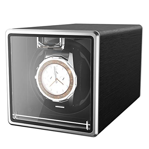 CRITIRON Automatic Watch Winder Case for 1 Watch Rotating Watches Storage Display Box Metal(Black)