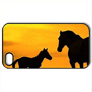 Big and smal horses - Case Cover for iPhone 4 and 4s (Horses Series, Watercolor style, Black) by icecream design