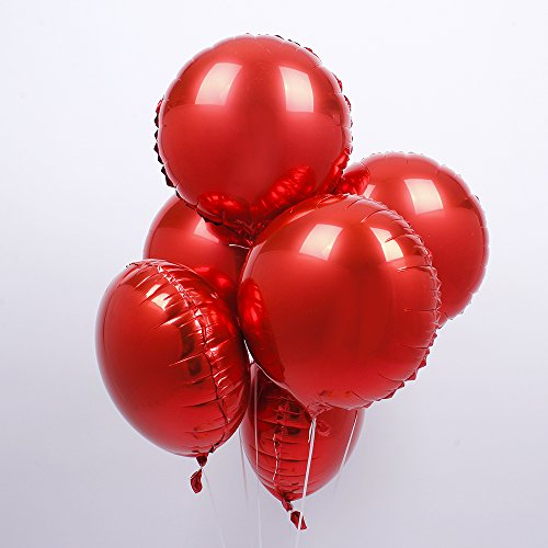(18 inch Red Round Shaped Foil Mylar Balloons Helium Balloon Birthday Party Supplies Wedding Decoration, 50pc)