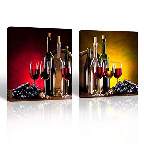- Purple Verbena Art Contemporary Red Wine Giclee Canvas Prints Stretched and Framed Wall Art for Home Decor, 2 Panels Walls Decorations Paintings for Living Room Dinning Room Office, 16x16 Inch
