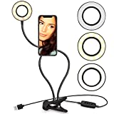 Gadgits Clip-On LED Light Smartphone Selfie Stand with 3 Light Modes and 10 Brightness Levels for Perfect Social Media Posts and Livestreams (Black)