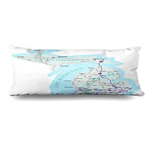 - Ahawoso Body Pillows Cover 20x60 Inches American Detroit Michigan State Road Map Interstates Kalamazoo Us Lake Atlas America Design Journey Zippered Cushion Case Home Decor Pillowcase