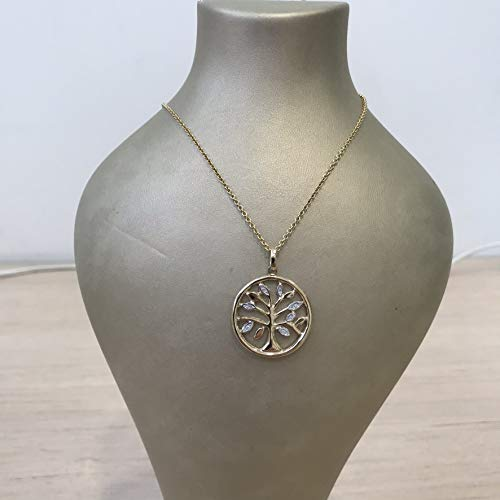 Unique medium size Artisan Tree of Life solid 9k gold circle necklace with (9k Gold Diamond Pendant)