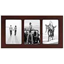 Malden International Designs Linear Wood Picture Frame 3-Opening Collage, 4 by 6-Inch Walnut