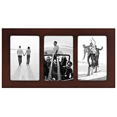 Malden International Designs Linear Classic Wood Picture Frame, 3 Option, 3-4x6, Walnut
