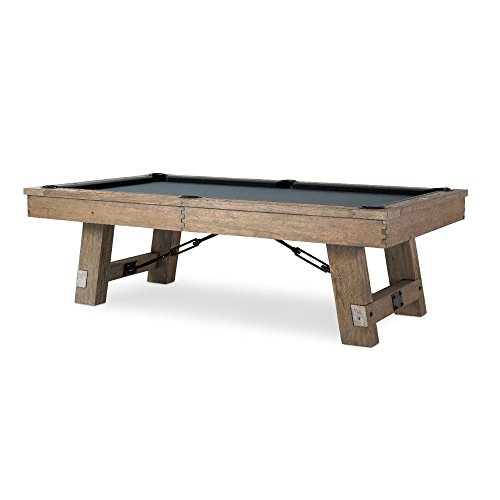 Plank & Hide Isaac 8 foot Pool Table - Rustic Billiard Table with All Accessories – Game Room Furniture- Slate Pool Table in Silvered Oak Finish- Game Table-Game Room Furniture-Choice of Color Felt
