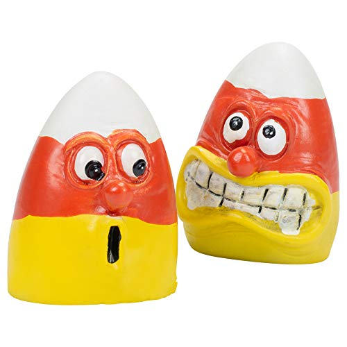 New 2Pc Halloween Frightened Face Candy Corn Candycorn Figurine Statues ()
