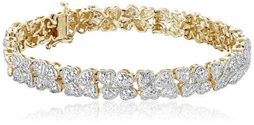 : 18k Yellow Gold Plated Sterling Silver Genuine Diamond Hearts Bracelet (1/10 cttw, I-J Color, I2-I3 Clarity), 7.25""