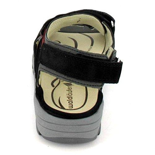Waldläufer Sandalette Herki, Farbe: schwarz Schwarz/Asphalt