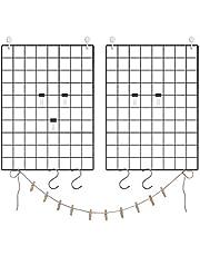 SONGMICS Set of 2 Grid Panel, Photo Wall Display, Metal Mesh Wall Decor Art Display, Black ULPP01H