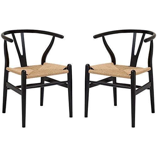 Poly and Bark Wegner Wishbone Style Chair, Black, Set of ()