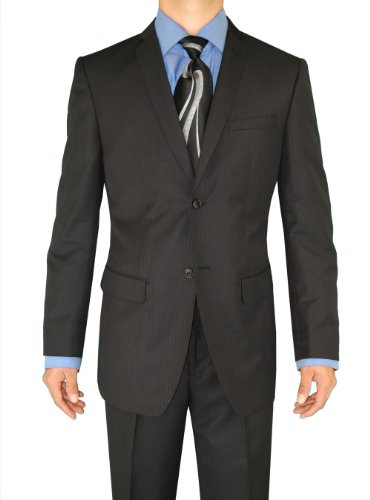 Tone Stripe Mens Suit (Giorgio Eleganz Men's Trim Modern Fit Suit 2 Button Black Tone-on-Tone Stripe 40R)